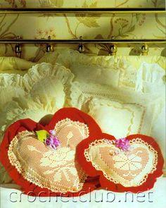 Crochet filet heart pillow decor with diagram