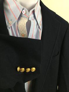 Men's Vintage Chaps Ralph Lauren Blazer 40R 2 gold buttons 100% Wool Navy Blue #RalphLauren #TwoButton