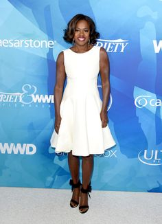Viola Davis in Zac Posen paired with Betsey Johnson sandals attends the WWD And Variety inaugural stylemakers' event. #bestdressed
