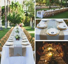 long tables + kraft & stripe runners + gold chargers