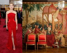 Rosamund Pike took red in another direction, going for an opulent crimson sheath and scarlet satin shoes that would have looked more at home in a rococo mansion than on the red carpet. Rococo, Baroque, Oscar Gowns, Rosamund Pike, Satin Shoes, Entertainment Room, Scarlet, Red Carpet, Entertaining