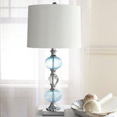 Aqua Glass Table Lamp Silver