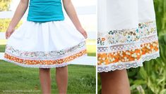 add lace and fabric strips to a skirt - love the look.  // make it and love it