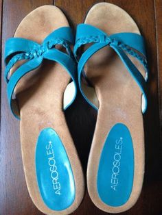 Aerosoles-Womens-Sandals-Turquoise-Leather-Straps-Size-9B-Gently-Used
