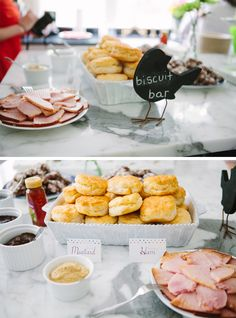 Biscuit bar - do savory (meats & cheeses) and sweet (jams & jellies) to go along with it