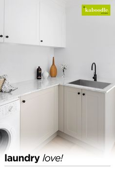 Think outside the kitchen and create your dream laundry too Modern Laundry Rooms, Laundry Room Layouts, Laundry Room Organization, Laundry Room Design, Kitchen Design, Kitchen Ideas, Laundry Bathroom Combo, European Laundry, Laundry Doors