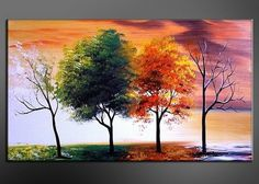 Seasons of Emotion!! How would you describe it? http://fabuart.com/abstract-painting/Modern-Art-Paintings/modern-tree-wall-art-painting