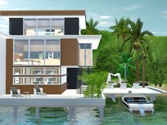 Located on Palm Beach, this Tropical family home on a private island is yours to enjoy.  Built partly on the ocean, the rich tones of wood used in this home are sure to add warmth to your life....