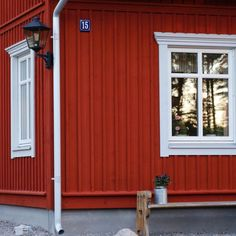 House Trim, Building A House, Cottage Inspiration, Home, Red Houses, Backyard Office, Concrete House, Red House, House Exterior