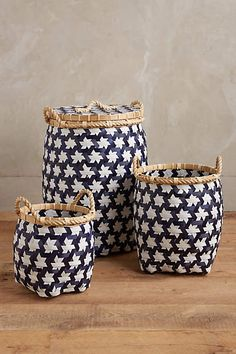 """$79.95/Set of 3 (on sale from $248) Bamboo Baskets, Small 12""""H x 11.5""""DIA, Medium 14.25""""H x 15.75""""DIA, Large 22.5""""Hx 15""""DIA"""