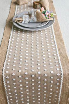 "12"" / 14"" Wide Burlap and Polka Dot Lace Table Runner-Romantic Wedding Natural Jute Table Runner-Custom Length-Wedding Tablecloth TRJ018CM"