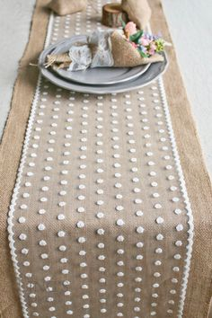 "12"" / 14"" Wide Burlap and Polka Dot Lace Table Runner-Romantic Wedding Natural Jute Table Runner-Custom Length-Wedding Tablecloth TRJ018CM"