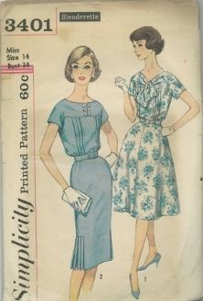 An original ca. 1960 Simplicity Pattern 3401.  Dress has front and back yoke cut in one with short kimono sleeves.  Bodice front has outside tucks.  Entire bodice is gathered at lower edge.  Belt is self or purchased.  V.1 tie ends are cut in one with yoke.  Flared skirt has 4 gores.  V. 2 has lowered round neckline in front with opening at center front.  Slim skirt has pleats at side seams.