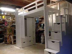 Wardrobe loft bed with storage steps