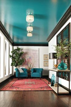 make your house look more expensive on a budget set your home apart from all others with a unique decorating idea painting the ceiling with a bold color - Home Decorating Ideas Painting