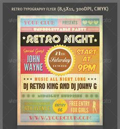 Really Awesome Typography Flyer Psd Templates  Vintage Party