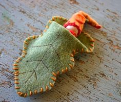 Leaf Fairy!  Another good use for felted wool!  Would the granddaughters love these? Oh the stories we could make up!