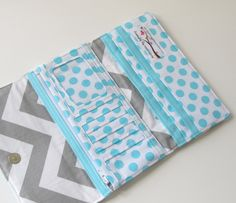 Aqua and Gray Chevron Trifold Wallet, Clutch Wallet with Robin's Egg Blue Rouching, Fall Fashion - READY TO SHIP. $57.00, via Etsy.