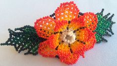 Mexican Huichol Beaded Flower Hair clip by Aramara on Etsy