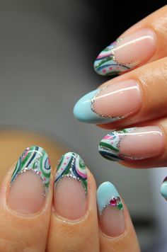Pink Green Blue water Marble Nail Art with French Manicure & crystal accents, silver Glitter, Free Hand