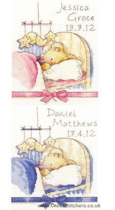 Bedtime - Huggles The Bear Cross Stitch Birth Sampler Kit from Bothy Threads