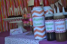 Finn's ice cream shoppe condiments- then you can fill with cheap versions