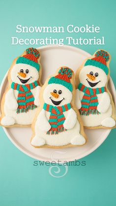 Snowman Cookies, Iced Cookies, Cut Out Cookies, Royal Icing Cookies, Cookie Desserts, Holiday Cookies, Sugar Cookies, Christmas Food Gifts, Christmas Baking