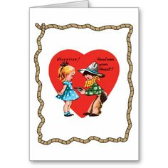 Retro Cowboy Heart Rope Valentine's Day Card.