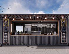 Cafe Shop Design, Coffee Shop Interior Design, Kiosk Design, Building A Container Home, Container House Plans, Container House Design, Shipping Container Cafe, Container Coffee Shop, Backyard Bar