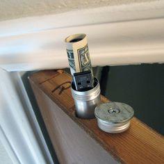 Hidden compartment in a door