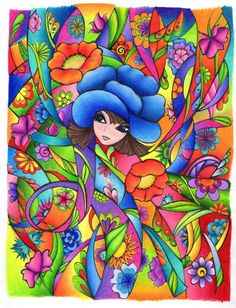 Fanciful Faces Coloured by Jessica Elizabeth Prismacolour Colouring Pages, Adult Coloring Pages, Creative Haven Coloring Books, Ukulele Art, Wal Art, Coat Of Many Colors, Color Inspiration, Clip Art, Fancy