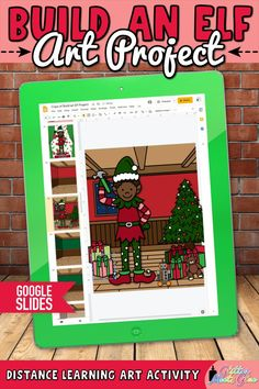 Need easy, NO PREP digital Christmas art projects for kids for both in-person & distance learning? Build an elf using holiday graphics! Teach Google Slides with basic computer skills. Digital template includes 206 moveable pieces for all the elf body parts & extras like a Christmas tree, presents, & toys. Use this activity to discuss proportion. Incorporate literacy into your lessons with the included writing prompts! Perfect for 3rd grade - 5th grade elementary students. | Glitter Meets…