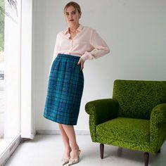 VIN-SKI-02620 Vintage φούστα καρό πράσινο μπλε Valentino Waist Skirt, High Waisted Skirt, Valentino, Vintage Skirt, Skirts, Style, Fashion, Swag, Moda