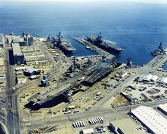 Three aircraft carriers, Hunters Point Naval Shipyard, San Francisco, 1971. USS Wasp, USS Coral Sea and USS Ranger.