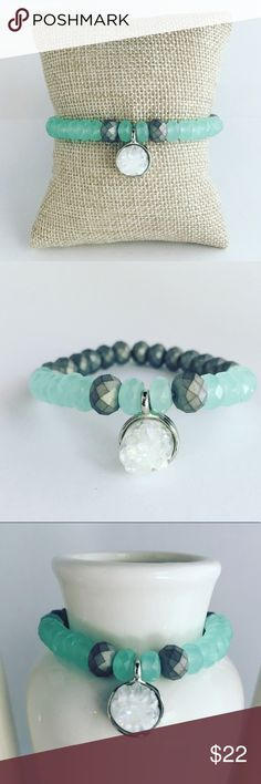 Handmade Druze Mint Sea Glass Beaded Bracelet 🎁FREE GIFT WITH EVERY ORDER!🎁 This bracelet is the kind of classic you can wear stacked or solo.These bracelets are a stretchy & looks chic worn solo or paired with similar styles.  M A T E R I A L S: • 6mm Grey Rondelle Agate Beads • 4mm Mint Sea Glass Beads • Strong elastic cord (1.0mm) • E6000 Jewelry & Bead glue   Each bracelet is authentically handmade by me in my home craft studio.  I weave professional grade elastic cord through the…