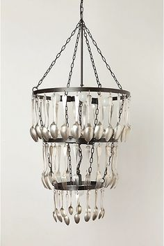 silverware chandelier - DIY don't care for the silver wear part but the frame of it is a good idea