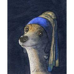 Ein Sammlerstück Fine Kunstdruck, Größe 10 x 8 Zoll, Susan Alison Greyhound Whippet Hund Design, ursprünglich in Aquarell gemalt und mit dem Titel: Dog with a Pearl Earring. (Wir begrüssen Vermeer - wir entschuldigen uns auch zu ihm, aber wenn er auf solche leckere Bilder malen bestehen, muss er damit rechnen, von uns verbissen Pfote Maler.) Diese Edition wurde auf dem Epson archival Drucker (Kaiserin von FineArt-Druckern), professionell gedruckt mit erstaunlichen Pigmenttinten auf…
