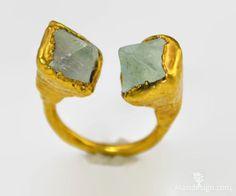 Natural Green Fluorite Octahedron Crystal Ring  / by Alaridesign, $64.00