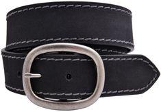 Full Grain Buffalo Leather Belt w/Contrast Stitching - Black   Full Grain Leather Belts