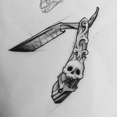 Tattoo idea perhaps in the making - cut throat razor with skull tattoo Skull Tattoos, Black Tattoos, New Tattoos, Body Art Tattoos, Sleeve Tattoos, Tattoo Designs, Tattoo Design Drawings, Tattoo Sketches, Barber Tattoo