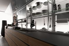 Rogerseller Valcucine New Logica kitchen system is designed to cleverly integrate all the tools needed into an ergonomic layout.