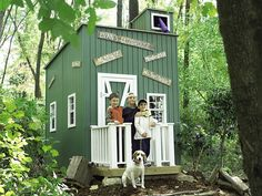 """PoshTots' Lil' Rascals clubhouse is perfect for rambunctious boys — especially those who like to say, """"No grownups allowed!"""" Their secret hideaway comes complete with a sliding peephole, a lookout telescope and matching-color interior, for $4,799 at poshtots.com."""