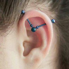 Fake Piercing, Piercing Tattoo, Ear Piercing Helix, Cool Piercings, Industrial Piercing Barbells, Industrial Earrings, Industrial Piercing Jewelry, Fake Gauge Earrings, Ear Jewelry