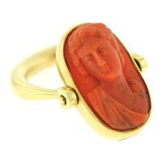 BULGARI Carved Coral Cameo Gold Ring - Robin Katz