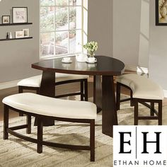 @Overstock - Upgrade your home decor with this triangle-shaped Paradise dining table. This dining set is constructed of a durable Asian rubberwood with benches that feature a beige, faux leather upholstery.http://www.overstock.com/Home-Garden/Paradise-Dining-Set/4401060/product.html?CID=214117 $649.99