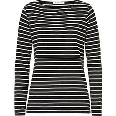 Betty Barclay Striped T-Shirt ($49) ❤ liked on Polyvore featuring tops, t-shirts, black, stretch t shirt, women's plus size tops, plus size long sleeve t shirts, long sleeve tees and stripe tee