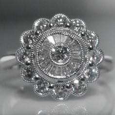 #Diamond #Cluster #Ring in 18k #White #Gold €2,495