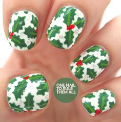 Christmas Holly Manicure