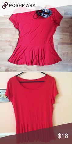 Beautiful pure red top Flattering top, good condition, no stains. No tag but fits like a size 10. Tops Blouses
