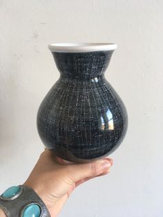 Mid Century VASE by RYE Pottery Black & White Vintage 1960 Scrafitto Atomic Design Ceramic Retro Mid Century Ceramics by on Etsy Black And White Vase, Starry Night Sky, Pottery Marks, Isle Of Wight, Carbon Footprint, Vintage Pottery, Pottery Vase, Rye, Earthenware